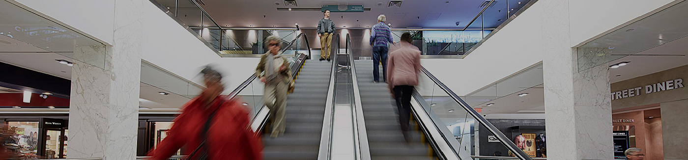 Photo of people on escalators
