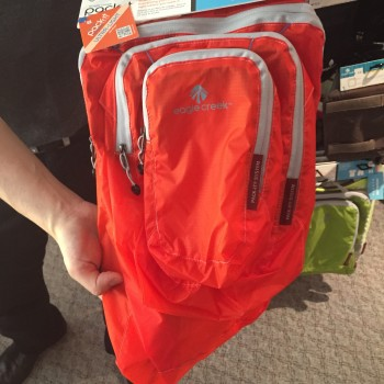 Photograph of an orange backpack