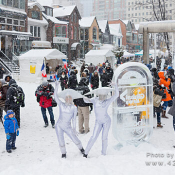 Image of families having fun at the Icefest