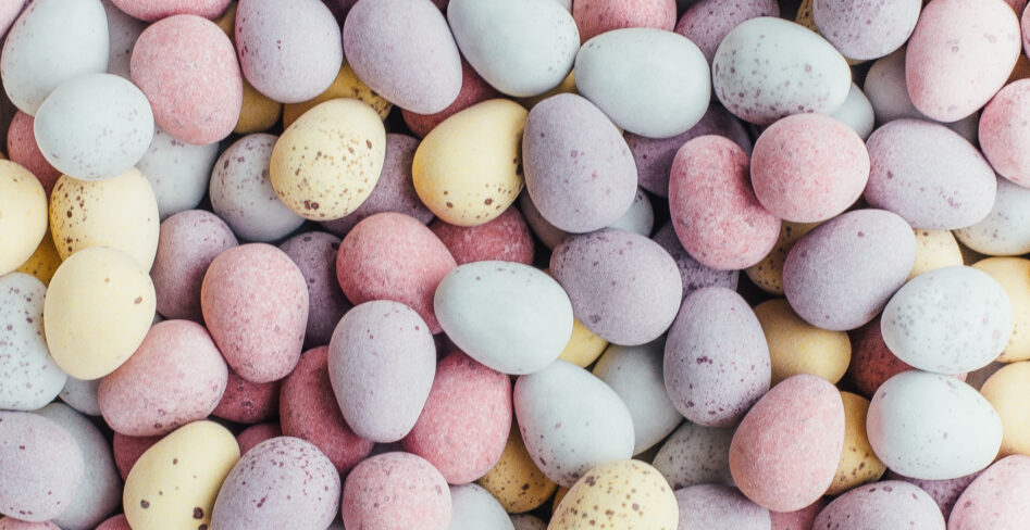 close up of mini egg chocolates in a pile